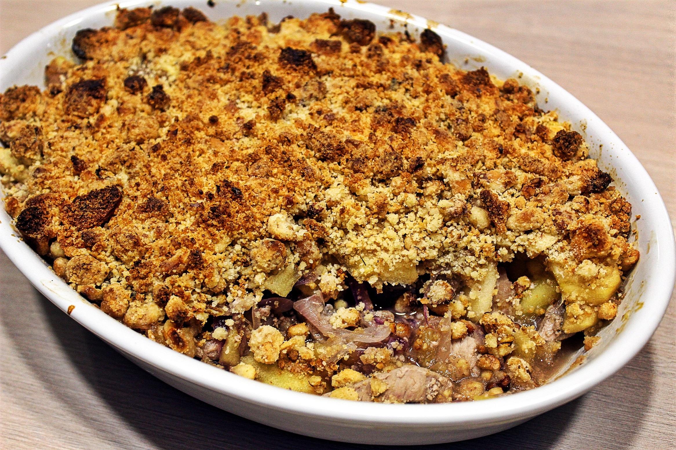 Délicimô ! - Recette Crumble de Porc aux Pommes - www.delicimo.fr